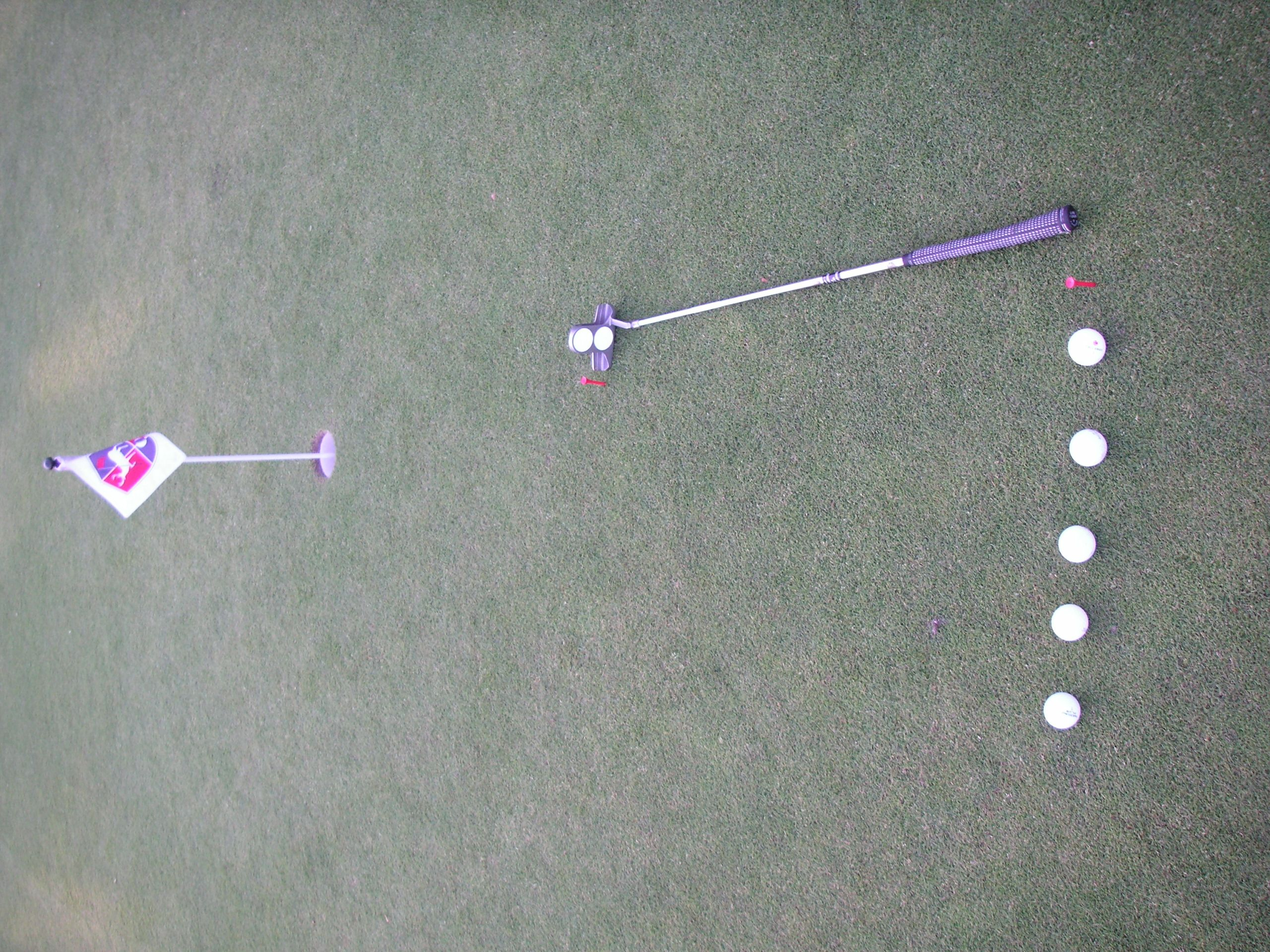 5 van de 5 golfballen putten oefening